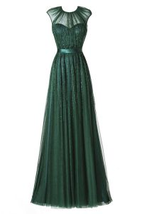 Scoop Floor Length Dark Green Mother Of The Bride Dress Tulle Cap Sleeves Beading and Pleated