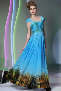 Fine Square Sleeveless Mother Of The Bride Dress Floor Length Appliques and Pattern Baby Blue Printed