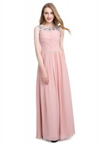 High Quality Scoop Sleeveless Chiffon Floor Length Zipper Mother Of The Bride Dress in Pink with Beading