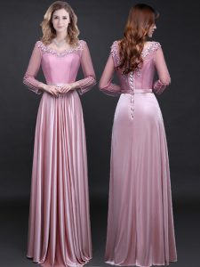 Luxury Pink Mother of Groom Dress Prom with Appliques and Belt V-neck Long Sleeves Lace Up