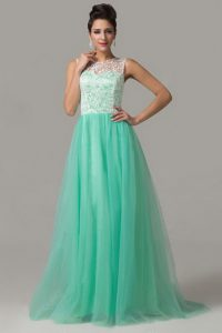 Customized Tulle Scoop Sleeveless Criss Cross Lace Mother Of The Bride Dress in Turquoise