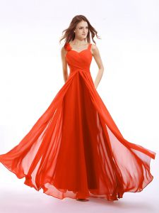 Flare Straps Orange Red Sleeveless Chiffon Zipper Mother Of The Bride Dress for Prom