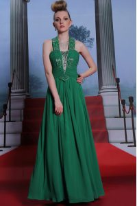 Ideal Halter Top Teal Sleeveless Chiffon Zipper Mother Of The Bride Dress for Prom and Party