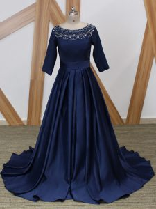 Navy Blue Mother Of The Bride Dress Prom and Military Ball with Beading Scoop 3 4 Length Sleeve Brush Train Zipper