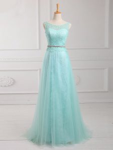 Long Sleeves Zipper Floor Length Lace and Belt Mother Of The Bride Dress