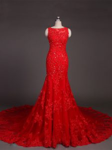 Court Train Mermaid Mother Dresses Red Scoop Lace Sleeveless Backless