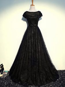 Black Scoop Neckline Beading and Lace and Belt Mother Of The Bride Dress Short Sleeves Zipper