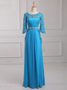 Latest Baby Blue 3 4 Length Sleeve Beading and Lace and Belt Floor Length Mother Of The Bride Dress