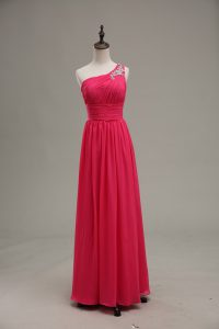 Hot Pink Empire One Shoulder Sleeveless Chiffon and Fabric With Rolling Flowers Floor Length Zipper Beading and Ruching Mother Of The Bride Dress