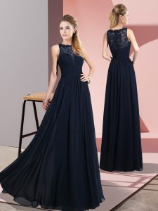 Floor Length Zipper Mother Of The Bride Dress Navy Blue for Prom and Party with Lace