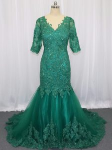 Colorful Half Sleeves Brush Train Lace Up Lace and Appliques Mother Of The Bride Dress