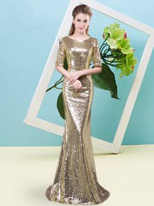 Most Popular Half Sleeves High Low Sequins Zipper Mother Of The Bride Dress with Yellow