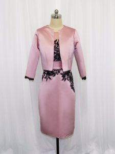 Mini Length Pink Mother Of The Bride Dress Satin Long Sleeves Lace and Appliques