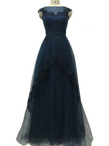 Navy Blue Empire Bateau Sleeveless Tulle Floor Length Zipper Lace and Appliques Mother Of The Bride Dress