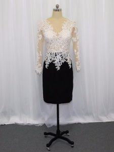 Beauteous Satin Bateau Long Sleeves Zipper Lace Mother Of The Bride Dress in White And Black