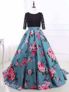 Multi-color Long Sleeves Brush Train Lace and Appliques Mother Of The Bride Dress
