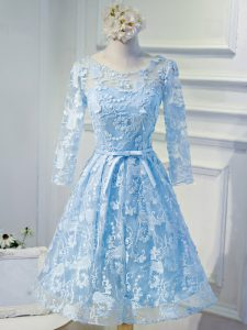 Customized Light Blue Lace Up Scoop Beading and Appliques Mother Of The Bride Dress Organza Long Sleeves