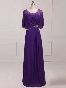 Purple Sleeveless Floor Length Beading and Appliques Zipper Mother Of The Bride Dress