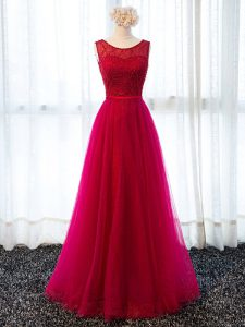 Enchanting Scoop Sleeveless Tulle Mother Of The Bride Dress Beading and Belt Lace Up