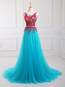 Chic Aqua Blue Sleeveless Lace and Appliques Zipper Mother Of The Bride Dress
