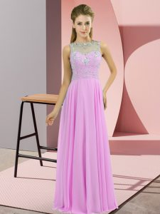 New Style Sleeveless Chiffon Floor Length Zipper Mother of Groom Dress in Lilac with Beading