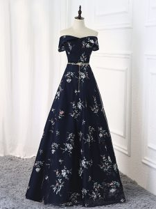 Super Sleeveless Floor Length Beading and Belt Lace Up Mother Of The Bride Dress with Multi-color