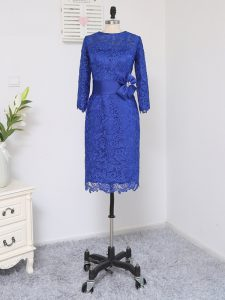 Knee Length Royal Blue Mother Of The Bride Dress Lace Long Sleeves Lace and Appliques and Belt