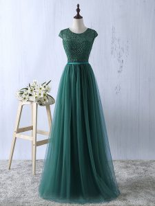 Shining Dark Green Short Sleeves Lace Floor Length Mother Of The Bride Dress