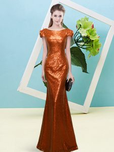 Floor Length Zipper Mother Of The Bride Dress Rust Red for Prom and Party with Sequins