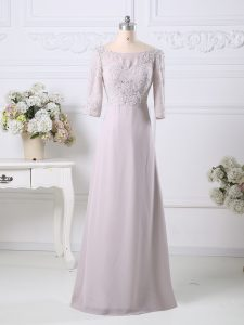 Comfortable Pink Chiffon Zipper Scoop 3 4 Length Sleeve Floor Length Mother Of The Bride Dress Beading and Embroidery