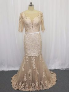 Discount Champagne Tulle Backless Scoop Half Sleeves Mother Of The Bride Dress Brush Train Lace and Appliques