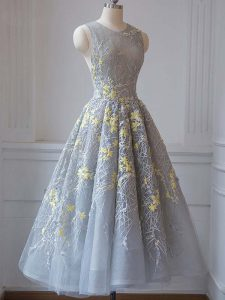 Tulle Sleeveless Tea Length Mother Of The Bride Dress and Lace and Appliques