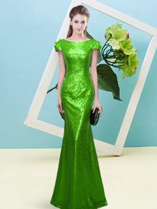 Captivating Sequined Cap Sleeves Floor Length Mother Of The Bride Dress and Sequins