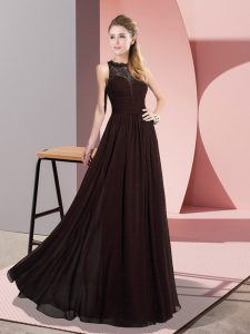 Brown Zipper Mother Of The Bride Dress Lace Sleeveless Floor Length