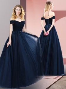 Fabulous Navy Blue A-line Beading and Ruching and Belt Mother Of The Bride Dress Lace Up Tulle Sleeveless Floor Length