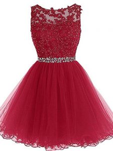 Best Mini Length Burgundy Mother Of The Bride Dress Tulle Sleeveless Beading and Lace and Appliques