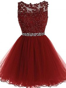 Nice Burgundy Zipper Mother Of The Bride Dress Beading and Lace and Appliques Sleeveless Mini Length