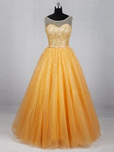 Unique Gold Sleeveless Floor Length Beading and Sequins Lace Up Mother Of The Bride Dress