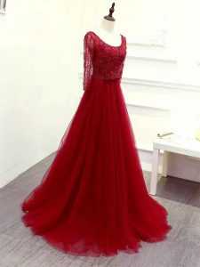 Hot Sale Scoop Long Sleeves Mother Of The Bride Dress Brush Train Beading and Lace and Belt Wine Red Tulle