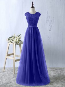 Blue Short Sleeves Floor Length Lace Zipper Mother Of The Bride Dress