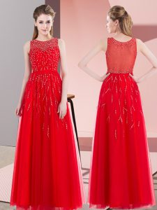Sleeveless Floor Length Beading Side Zipper Mother Of The Bride Dress with Red