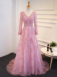Pink Long Sleeves Tulle Brush Train Lace Up Mother Of The Bride Dress for Prom and Party and Military Ball and Sweet 16