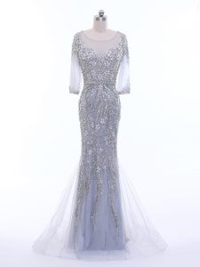 Colorful 3 4 Length Sleeve Beading Zipper Mother Of The Bride Dress with Silver Brush Train