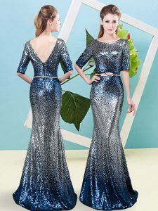 Elegant Floor Length Zipper Mother Of The Bride Dress Multi-color for Prom and Party with Sequins and Belt