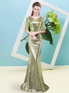Stylish Half Sleeves Sequined Floor Length Zipper Mother Of The Bride Dress in Yellow Green with Sequins