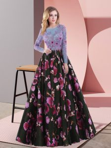 Multi-color Mother Of The Bride Dress Prom and Party and Military Ball with Embroidery Scoop Long Sleeves Lace Up