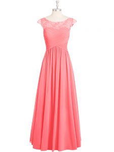 Wonderful Pink A-line Scoop Cap Sleeves Chiffon Floor Length Zipper Lace Mother Of The Bride Dress