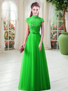 Custom Designed A-line Mother Of The Bride Dress High-neck Tulle Cap Sleeves Floor Length Lace Up