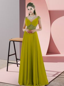 Customized Cap Sleeves Backless Floor Length Beading Mother Of The Bride Dress
