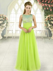 Fantastic Tulle Sleeveless Floor Length Mother Of The Bride Dress and Beading